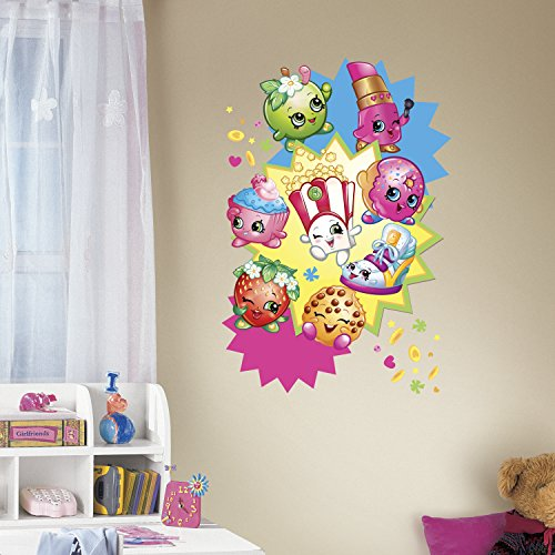 RoomMates RMK3156TB Shopkins Burst Peel & Stick Giant Wall Decals Multicolor