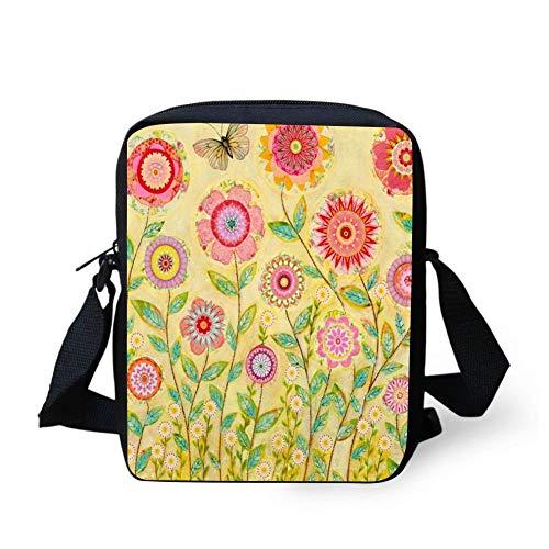 NSSDFWEdjf Folk Art Collage Flower Painting Casual Shoulder Bags Cute Animal Printing Handbag Casual Shoulder - Art Collage Folk