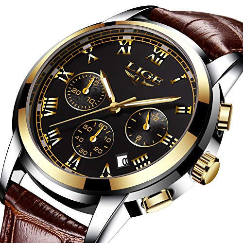 - Mens Watches Leather Band Waterproof 30M Calendar Wrist Watch for Men Teenager Boys, Fashion Casual Luxury Business Quartz Chronograph