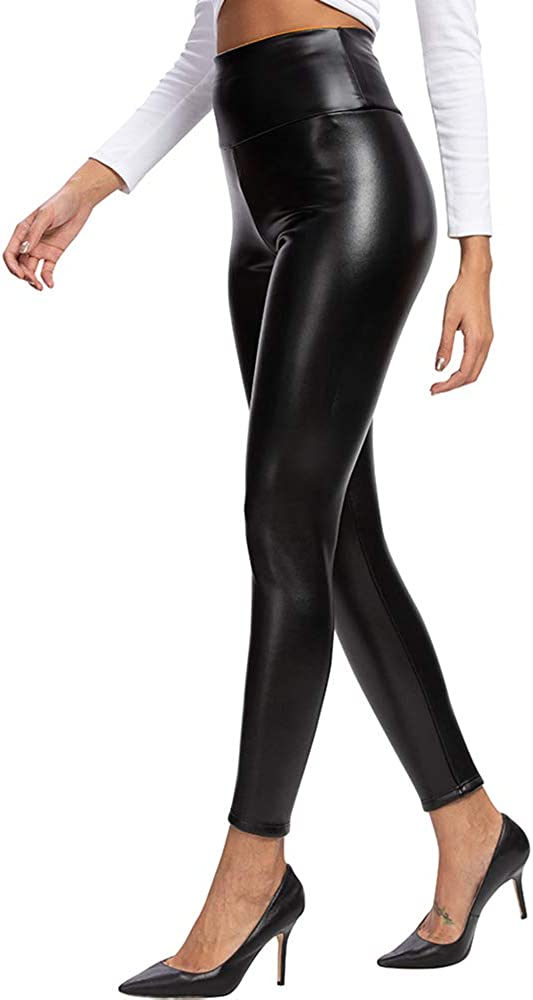 heekpek Mujeres PU Leggins Cuero Brillante Pantalón Elásticos Pantalones para Mujer Skinny Elásticos Pantalones