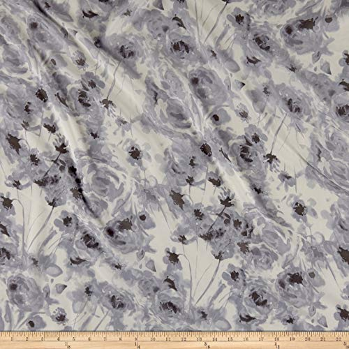 (Fabric Mart Watercolor Floral Chiffon Fabric, White/Gray, Fabric By The Yard )
