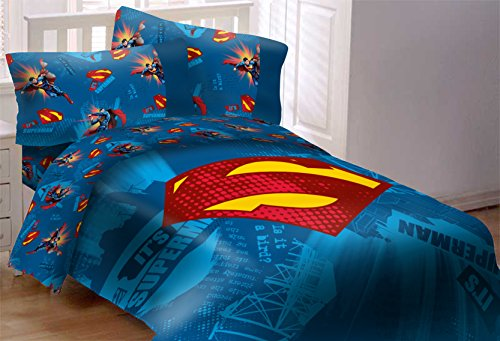 Superman Emblem 5 Piece Reversible Super Soft Luxury Full Size Comforter (Superman Full Comforter)