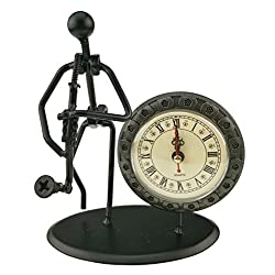 2 in 1 Iron Art Nut And Bolt Music Man Figure Elegant Unique Western Style Clock Watch ~Home Office Desk Decor Gift (C28 Saxophone)