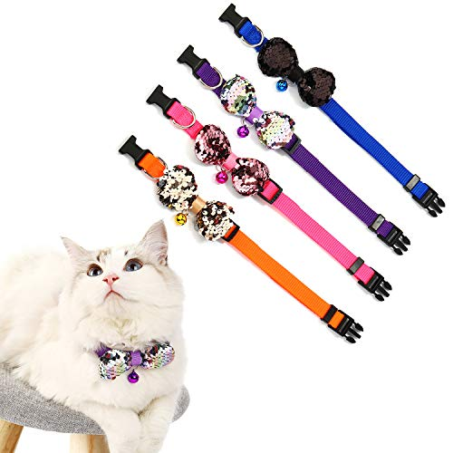 (Crystal Pets Glitter Cat Collar Bowtie with Bell,Adjustable Bling Collars,Soft Comfortable for Pet 9-13 Inch (Puple))
