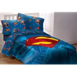 Superman Emblem 5 Piece Reversible Super Soft Luxury Full Size Comforter Set
