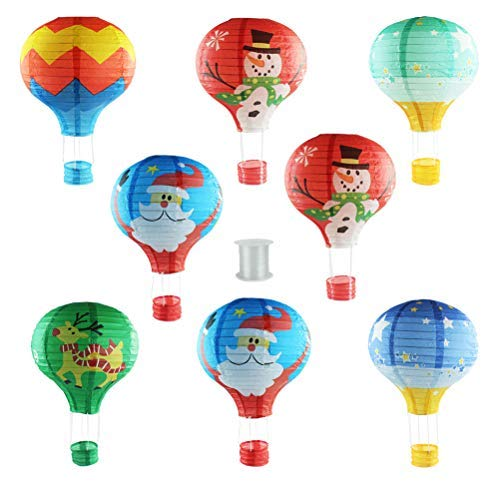 - Christmas Lantern Hanging Paper Lanterns Hot Air Balloon Shape Lanterns with 1 Piece of Hanging Line for Party Birthday Wedding Christmas Decoration 8pcs by Lee-Buty
