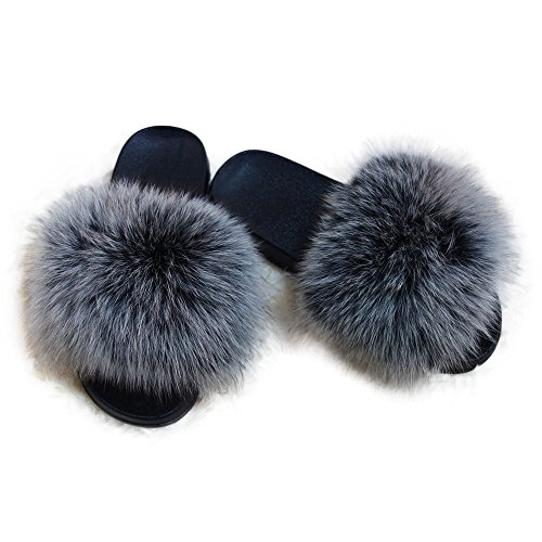 Manka Vesa Women Winter Real Fox Fur Feather Vegan Leather Open Toe Single Strap Slip On Sandals Gray