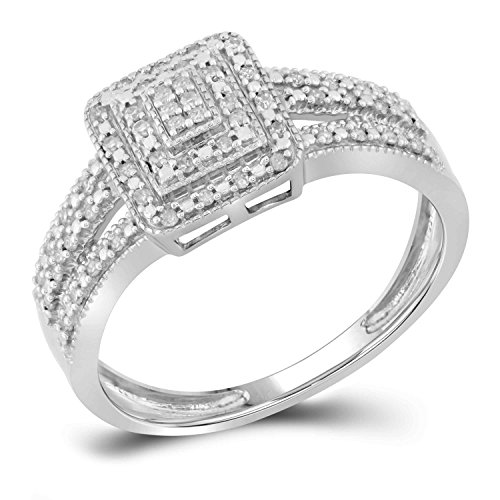 Jewels By Lux 10kt White Gold Womens Round Diamond Square Cluster Bridal Wedding Engagement Ring 1/6 Cttw Ring Size 7