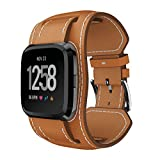 Fitbit Versa Accessories Replacement Leather Wrist Band, Classic Vintage Genuine Leather Versa Watch Bands Leather with Premium Stainless Metal Clasp Strap Special Design for Men Woman Large Small