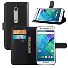 Fettion Moto X Pure Edition / Moto X Style Case, Premium Leather Wallet Case Cover with Stand Card Holder for Motorola Moto X Style / Pure Edition 2015 Phone (Wallet - Black)