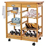 Cheap BBBuy Wooden Rolling Kitchen Storage Island Cart Dining Trolley Basket Stand Counter Top Table Microwave Cart Rack w/Drawers