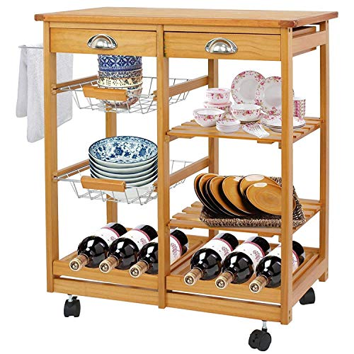 (BBBuy Wooden Rolling Kitchen Storage Island Cart Dining Trolley Basket Stand Counter Top Table Microwave Cart Rack w/Drawers)