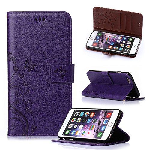 Beiuns Étui en Simili cuir pour Apple iPhone 6 (4.7 pouces) Housse Coque - R150 violet