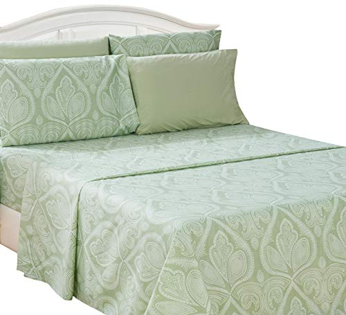 Sage Cotton Summer Collection - Lux Decor Collection Bed Sheet Set - Brushed Microfiber 1800 Bedding - Wrinkle, Stain and Fade Resistant - Hypoallergenic - 6 Piece (King, Paisley Sage)