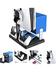 for PS5 Vertical Game Cooling Fan Stand for Playstation 5 Digital Edition with 15 Game Slots 3 HUB Port Dual Controller Charging