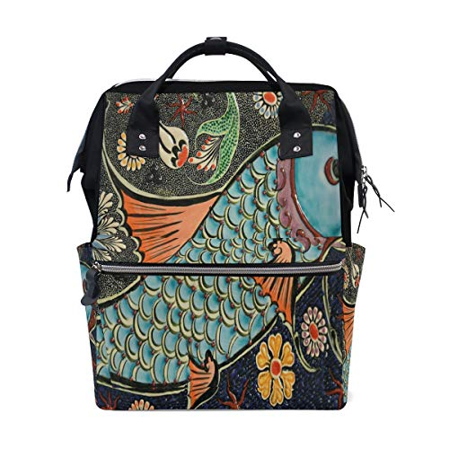 MUOOUM Mosaic Koi Fish Floral Diaper Bags Mommy Bag Nappy Nursing Backpack for Baby Care Multi-Function Zipper Casual Travel Backpacks