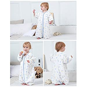 luyusbaby Muslin Sleeping Bag Baby Sleeping Bag with Feet Detachable Sleeve Wearable Blanket Small