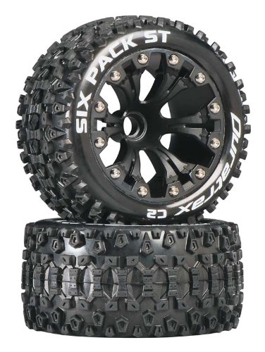 Nitro Rustler Accessories - DuraTrax DTXC3558 Six Pack RC Staduim Truck Tires with Foam Inserts, C2 Soft Compound, ST 2.8