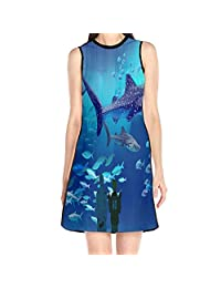 MONILO Shark Women's Lady Sleeveless Mini Dress Print Party Dress Tank Dress