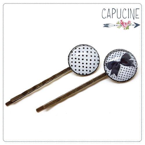 2 pinces bronze cabochons verre à pois et noeud - pinces cheveux cabochon - barrettes cheveux illustrées - nœud et pois