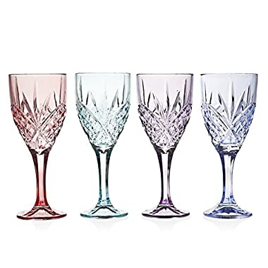 Godinger Dublin Collection Sparkling Chrystal Decorative Blush Assorted Colored Set OF 4 Wine Drinki