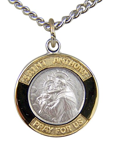 Gold And Sterling Silver Tu Toned Saint St Anthony Medal Pendant  5 8 Inch
