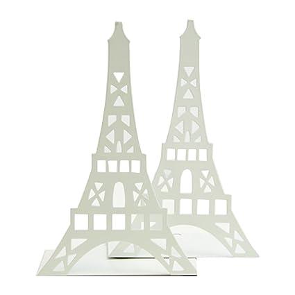 Un par de sujeta libros con diseño de la torre Eiffel para estantes organizadores