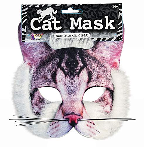 Realistic Cat Whiskers Halloween (Forum Novelties Cat Mask 3D Screen Print Realistic Look Soft Face Mask Fun Fur Adult Or)