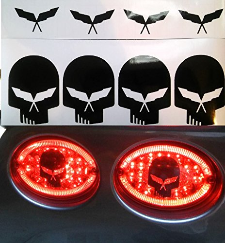 Clausen's World Jake Skull Brake Light Decals Vinyl Graphics and 4 Free C5 Emblem Decals, Fits Chevy Corvette C5, Black