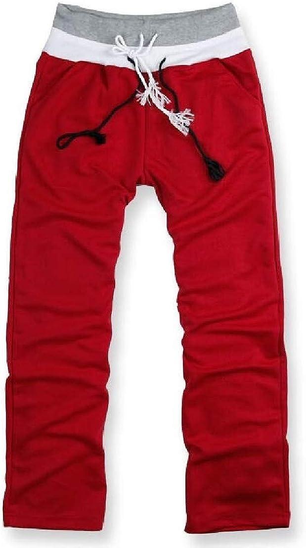 UUYUK Men Casual Sport Color Block Drawstring Running Sweatpants Pants Trousers