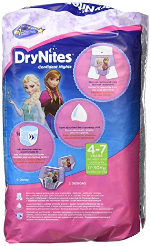 Huggies Pannolini assorbenti notturni DryNites per bagnare il letto, per ragazze 4-7 anni (17-30 kg), 3 x 10 = 30… 2