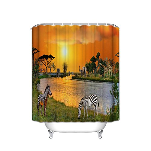 African Wildlife Shower Curtain, African Abstract Wildlife Elephant Giraffe Bird Zebra and Leopard Print, Fabric Bathroom Decor Set with Hook, 72 Inch, Orange Green