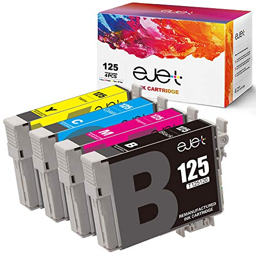 ejet Remanufactured Ink Cartridge Replacement for Epson 125 T125 to use with Stylu NX230 NX625 NX125 NX127 NX130 NX420 NX530 Workforce 520 325 320 323 (1 Black, 1 Cyan, 1 Magenta, 1 Yellow) 4 Pack