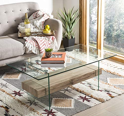 Safavieh Home Kayley Natural and Glass Coffee Table