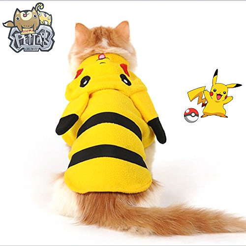 happypettag Premium Pokemon Pikachu Pet Costume 2 legs, All in one (XXS-M) Early Spring Autumn Winter Coat Dog Pokemon Go Costume Cat, small & Medium Dog Cold Weather Coats Dogs Outfit Hoodie (Cats In Outfits)