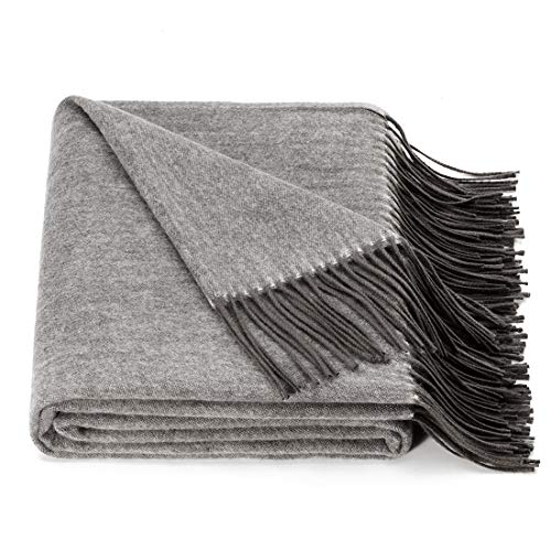 spencer & whitney Bed Throw Blanket Throws Wool Throw 70% Wool 30% Viscose Throws Twin Lightweight Throw Blanket Wool Throws Throw Blanket (Dark ()