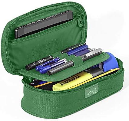 PracticOffice - Estuche Multiuso Megapak Oval para Material Escolar, Neceser de Viaje o Maquillaje. Medida 22 cm. Color Verde Oscuro: Amazon.es: Oficina y papelería