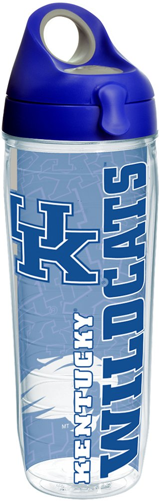 Tervis 1215211 Kentucky Wildcats College Pride Tumbler with Wrap and Blue with Gray Lid 24oz Water Bottle, Clear