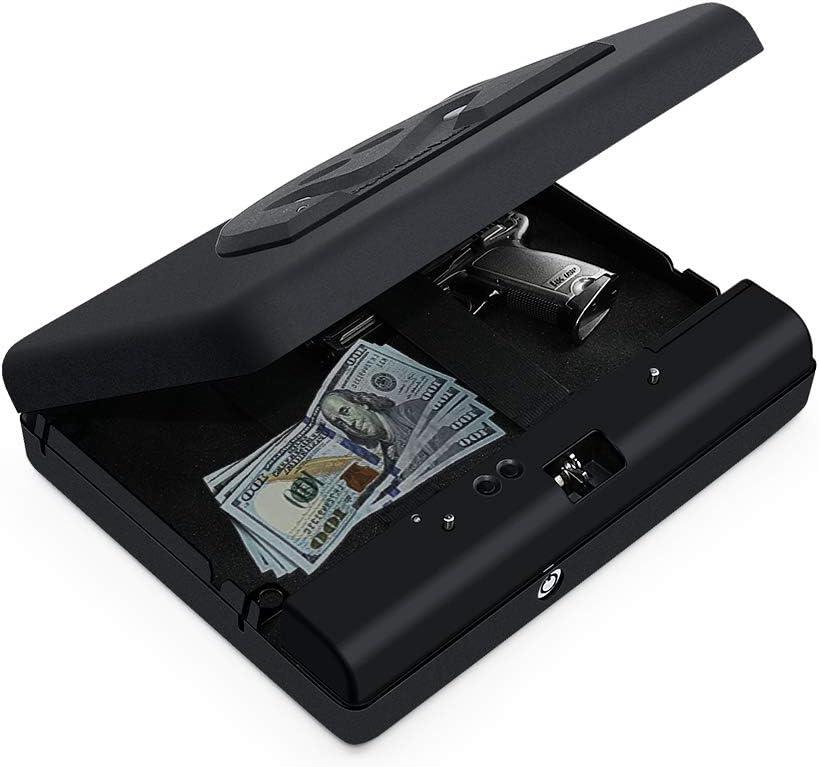 Gun Safes For Pistols Box Portable Safe Black Smart Pistol Safe Handgun Security Quick Access For Car Travel Gun Cabinet Home