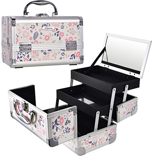 (Aluminum Cosmetic Makeup Train Case - Organizer Box with Mirror Light Weight for Travel or Home Locking Portable White)