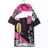 MEET ME-punk dress Hooded Shirt Dress Loose Casual Graffiti Print Dress Vestidos Hip Hop Streetwear Punk,Multi,One Size