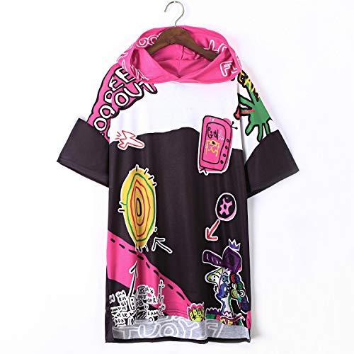 MEET ME-punk dress Hooded Shirt Dress Loose Casual Graffiti Print Dress Vestidos Hip Hop Streetwear Punk,Multi,One Size by MEET ME-punk dress