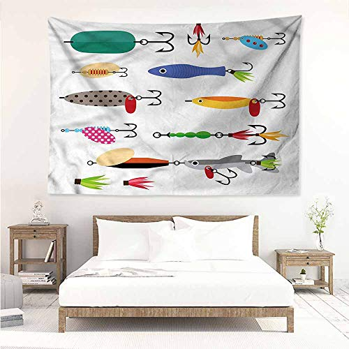 Living Room Tapestry,Fishing Stinger Net and Worms,Wall Hanging Carpet Throw,W71x59L