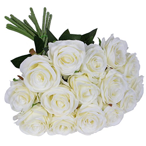 Luyue Artificial Silk Rose Flower Bouquet Wedding Party Home Decor, Pack of 10(Style 1-White)