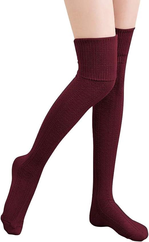 Winter Warm Women Knit Crochet Soft Thigh-High Thick Stockings Long Socks Pretty