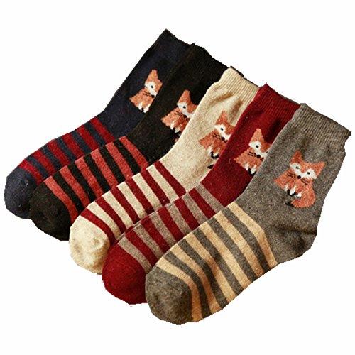 5-pairs-of-womens-casual-comfortable-cotton-crew-socks-cute-fox