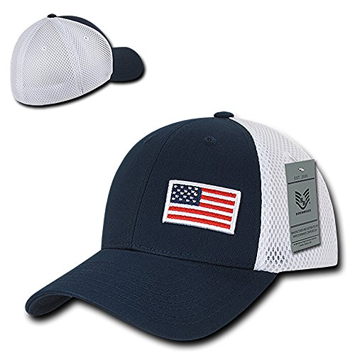 USA Flag Embroidered Aero Foam Mesh Flex Fitting Cap - - Baseball Cap Foam