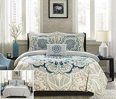 Luxury 6pc Soft Blue Paisley Print Cotton Comforter Set AND Decorative Shams