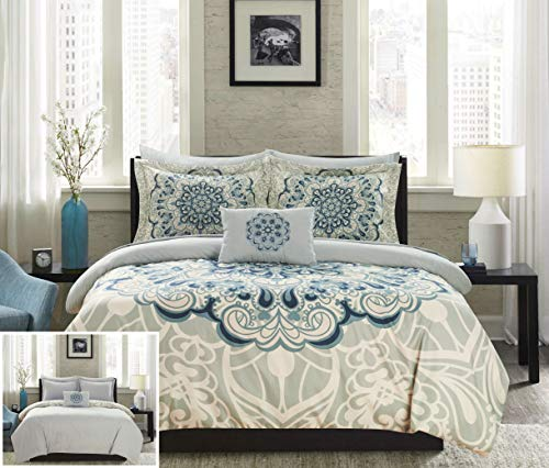 Chic Home Palmer 8 Piece Reversible Comforter Large Scale Boho Inspired Medallion Paisley Print Design Bed in a Bag-Sheet Set Pillowcases Decorative Pillow Shams Included, King, Blue (Sheets Medallion)
