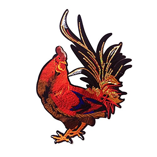 (Unique Farm Animals Large Rooster Embroidered Sew On Applique Patch (Style A))